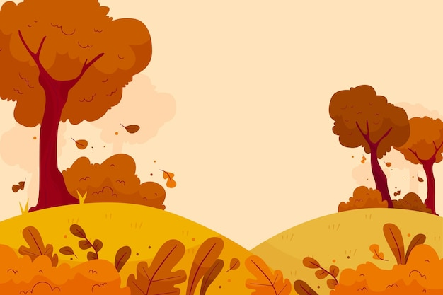 Flat autumn background with forest Premium Vector