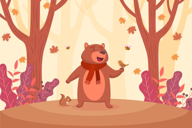 Flat autumn background with grizzly bear Free Vector
