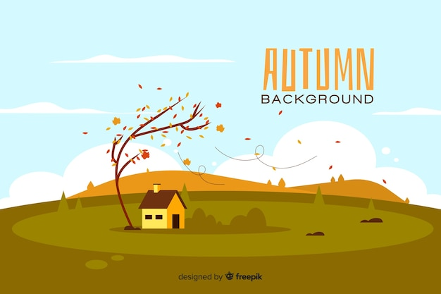 Flat autumn background with landscape Free Vector