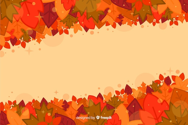 Flat autumn background with leaves Free Vector