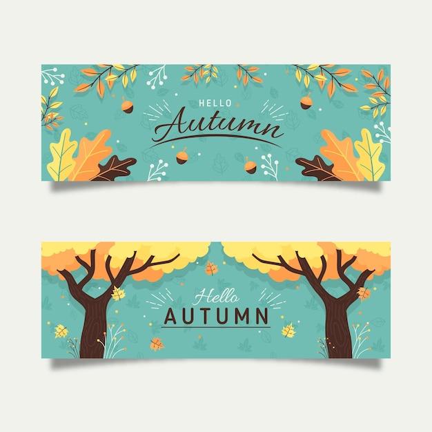Concetto di banner autunno piatto Vettore gratuito