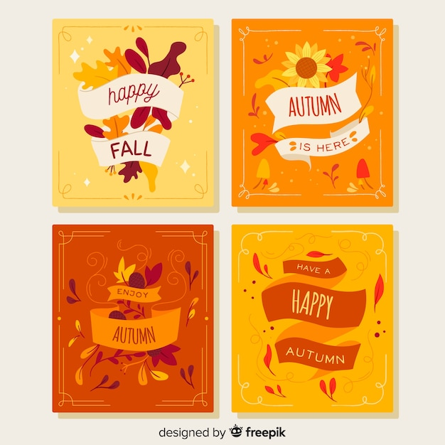 Flat autumn card template collection Free Vector
