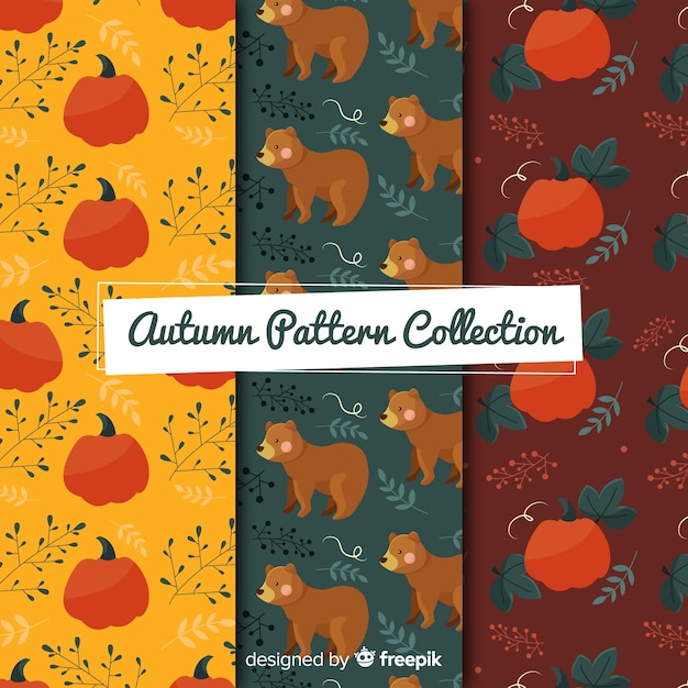 Flat autumn elements pattern collection Free Vector