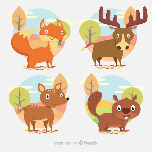 Collezione di animali foresta autunnale piatta Vettore gratuito
