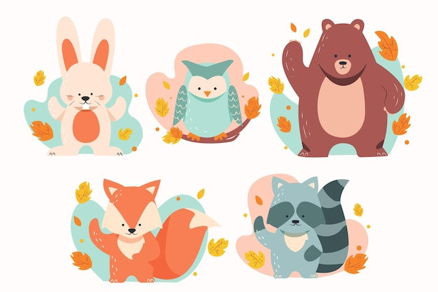 Flat autumn forest animals Free Vector