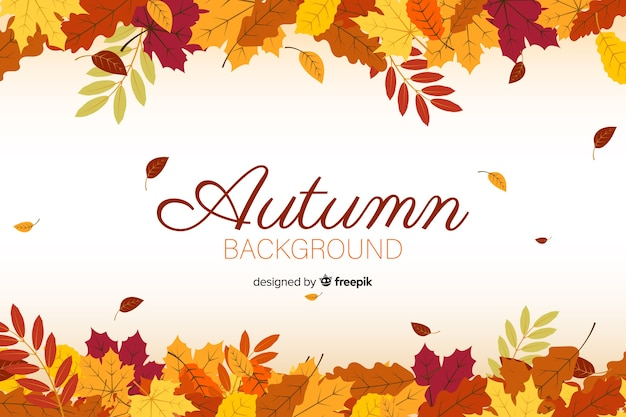 Flat autumn forest leaves background Premium Vector