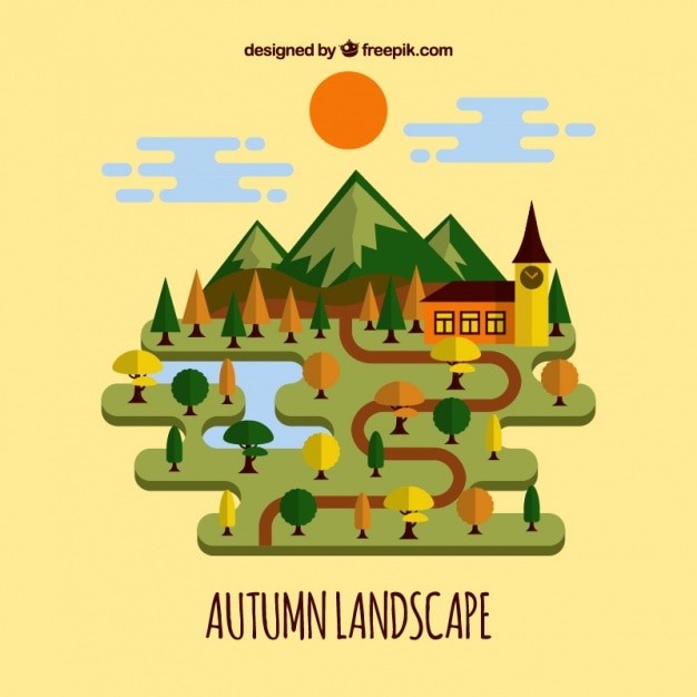 Flat autumn landscape with trees in warm\ colors