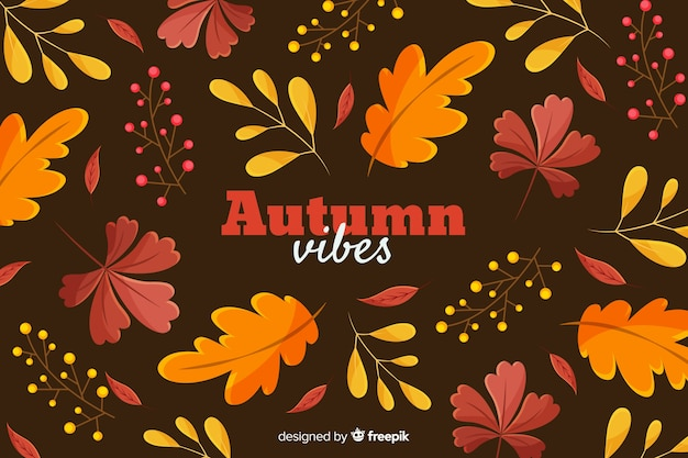 Flat autumn leaves decorative background Free Vector