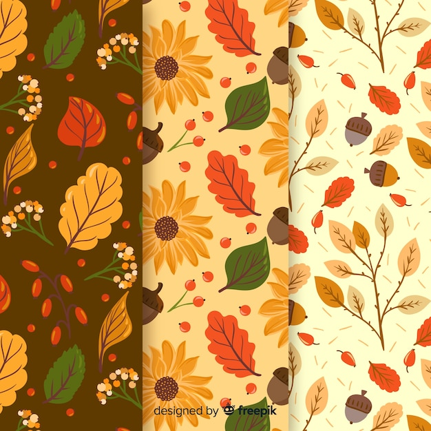 Flat autumn pattern collection with leaves Free Vector
