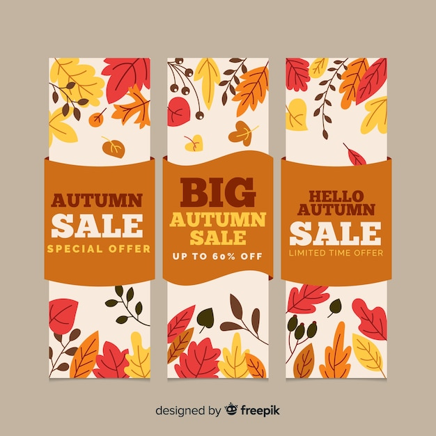 Flat autumn sale banners template Free Vector