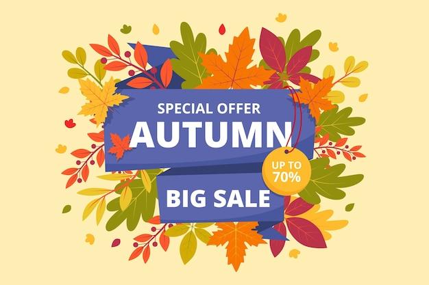 Flat autumn sale horizontal banner Free Vector