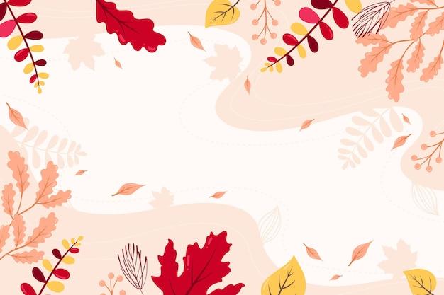 空のスペースで平らな秋の壁紙 Premiumベクター