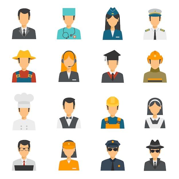 Flat avatar profession set Free Vector