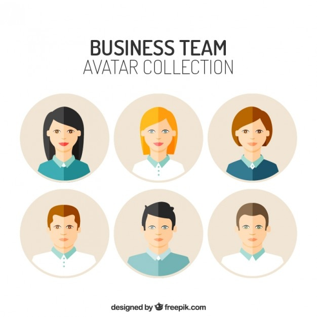 Flat avatars of business team Free Vector
