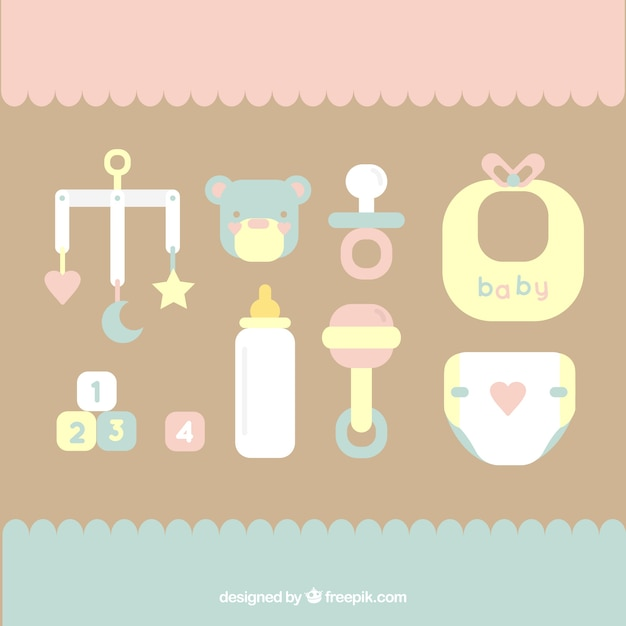 Flat baby elements collection Free Vector