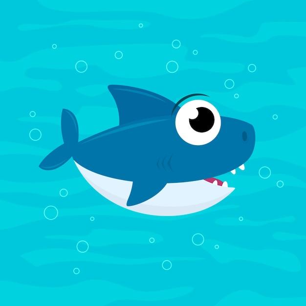 Flat baby shark in cartoon style Free Vector