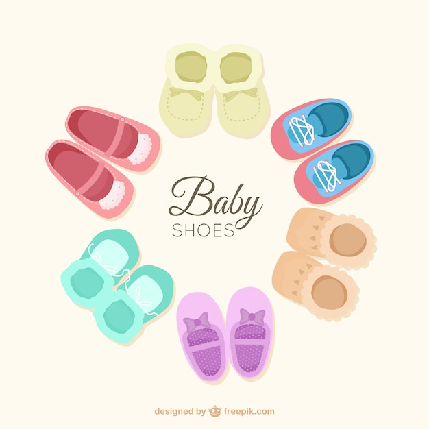 Flat Baby Shoes Set Free Vector