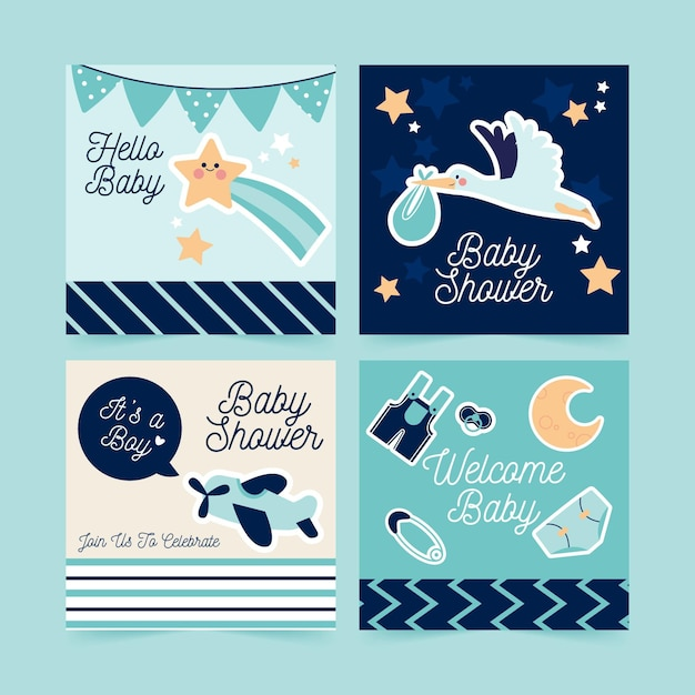 Flat baby shower instagram post collection Free Vector