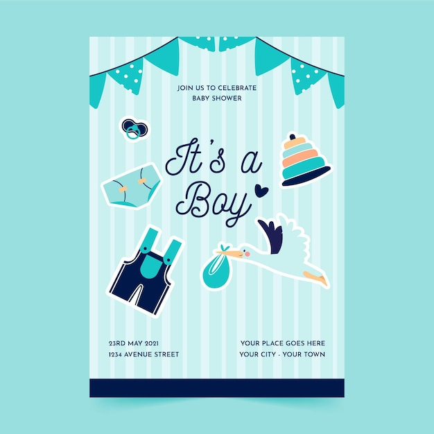 Flat baby shower party poster template Free Vector
