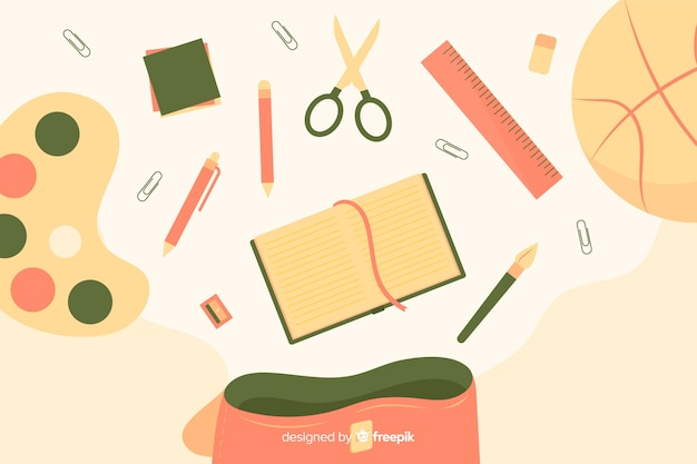 Flat back to school background Free Vector