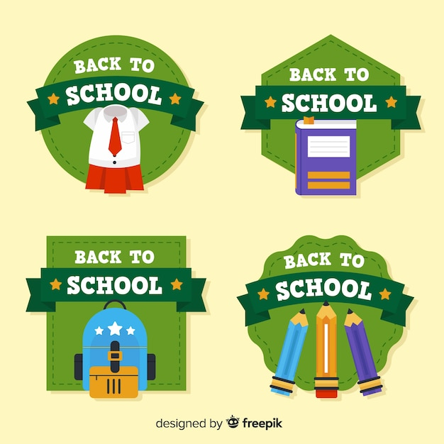 Flat back to school badge collection Free Vector