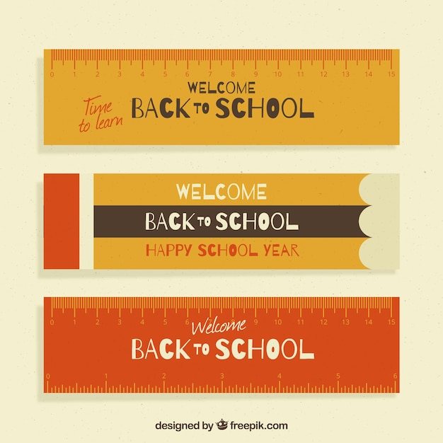 Flat back to school banners ruler style Free Vector