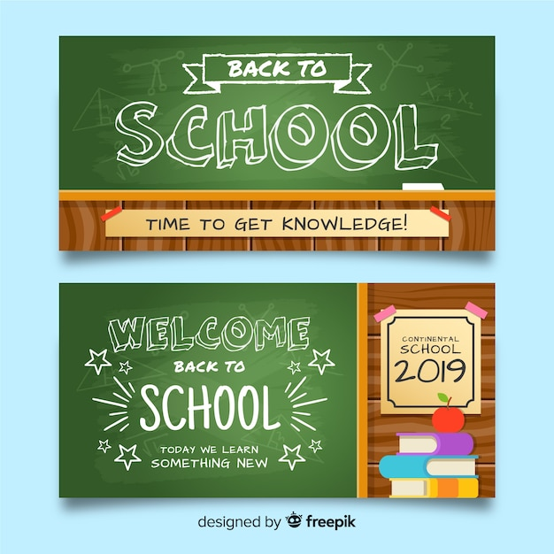 Flat back to school banners template Free Vector