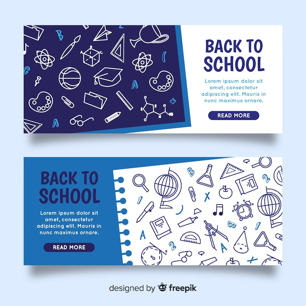 Flat back to school banners Free Vector