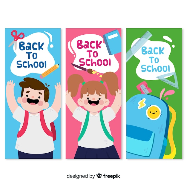 Flat back to school banners Premium Vector