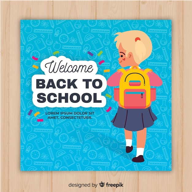 Flat back to school card template Free Vector