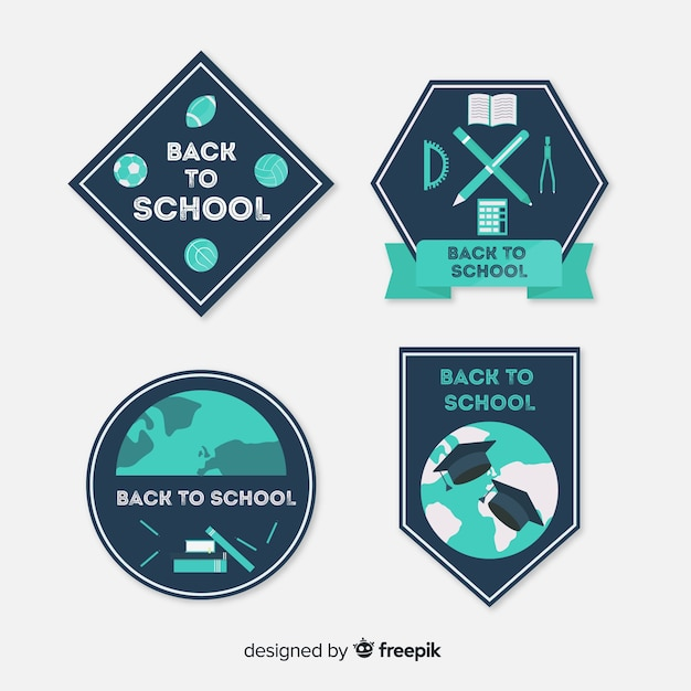 Flat back to school label collection Free Vector