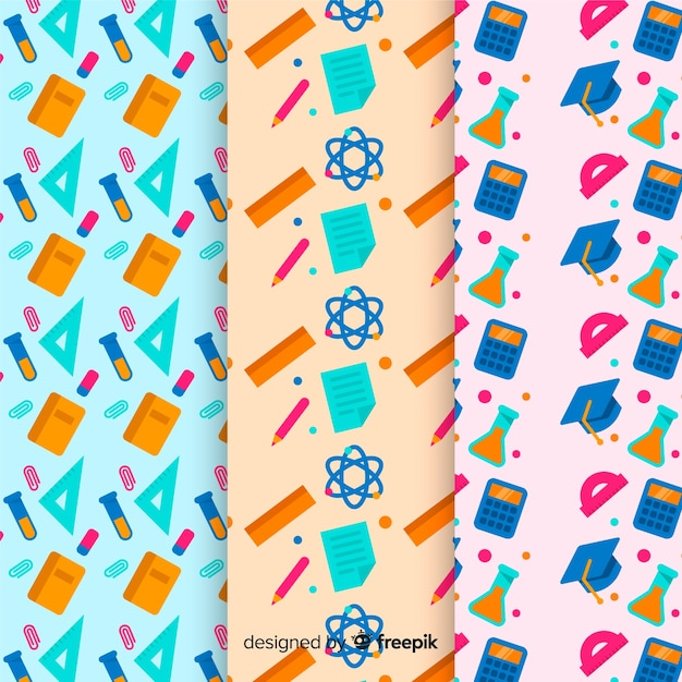 Flat back to school pattern collection Free Vector