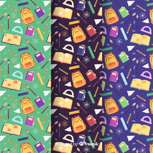 Flat back to school pattern collection Premium Vector