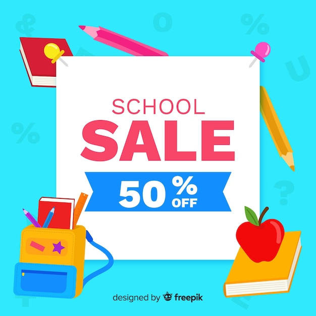 Flat back to school sale Free Vector