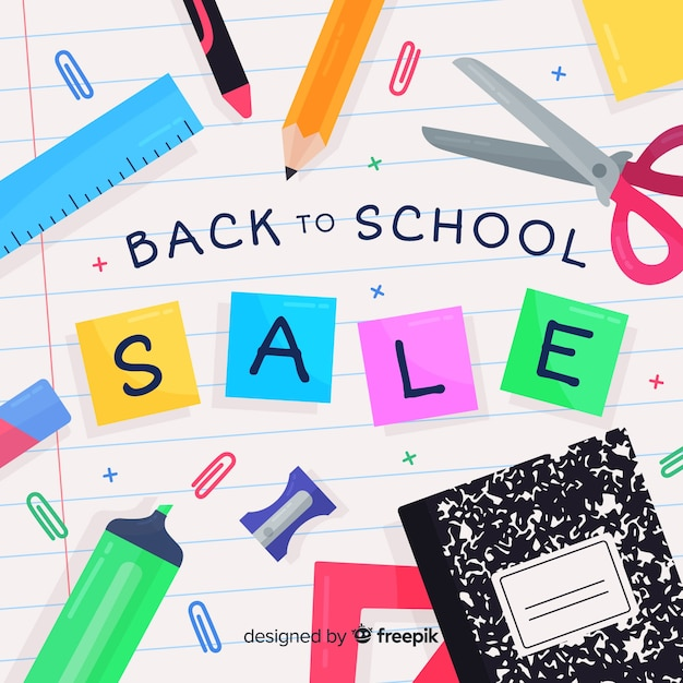 Flat back to school sales background Free Vector