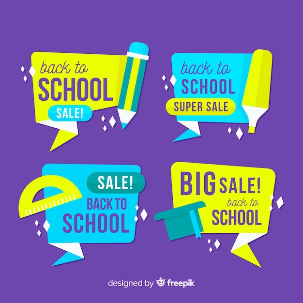 Flat back to school sales labels collection Free Vector