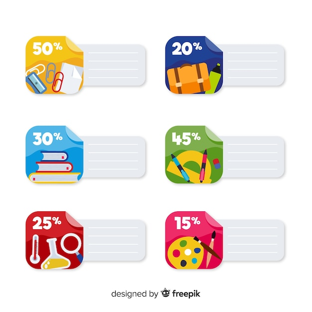 Flat back to school sales labels Free Vector