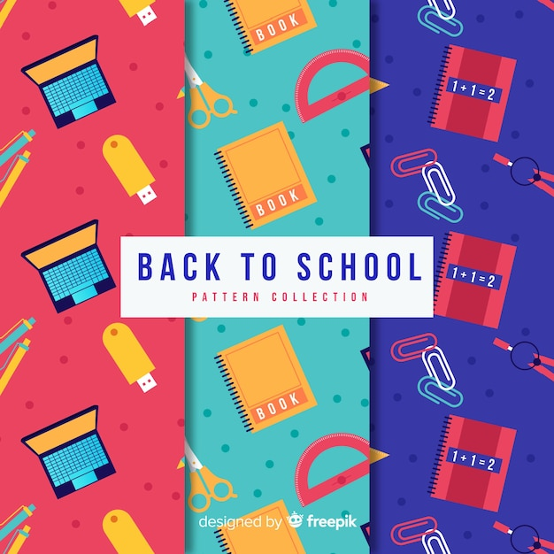 Flat back to school sales pattern collection Free Vector