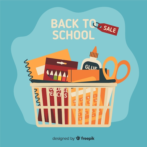 Flat back to school sales Free Vector