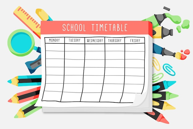 Flat back to school timetable Premium Vector
