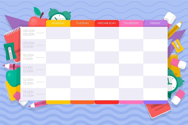 Flat back to school timetable Free Vector