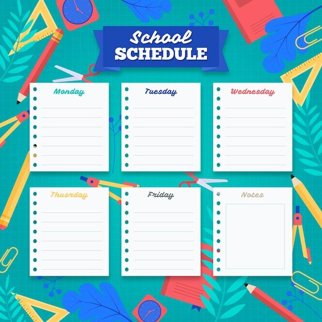 Flat back to school timetable Premium Vector