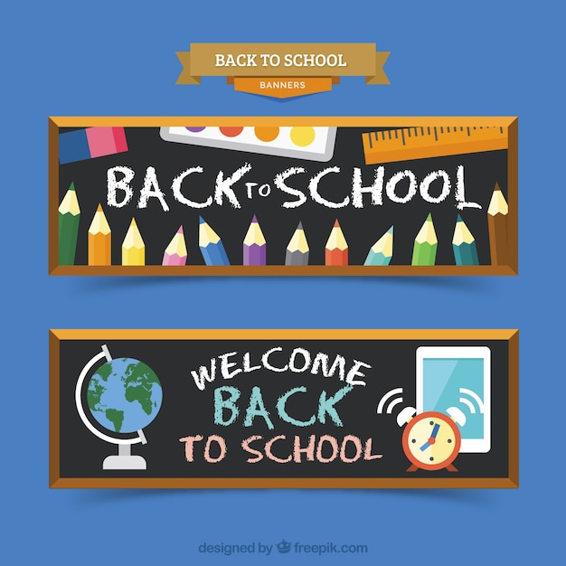 Flat back to school banners chalk style