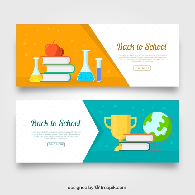 Flat back to school banners science theme