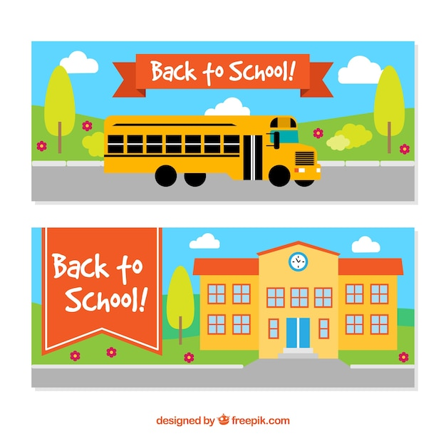 Flat back to school banners with bus and school building