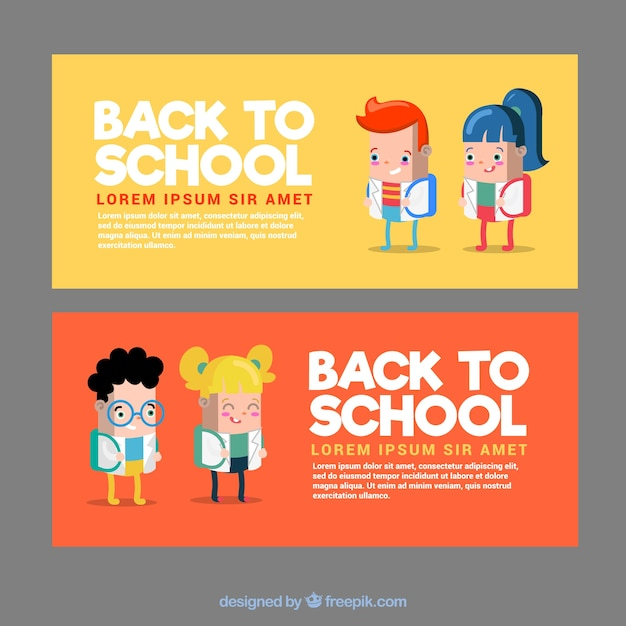 Flat back to school banners with funny school kids