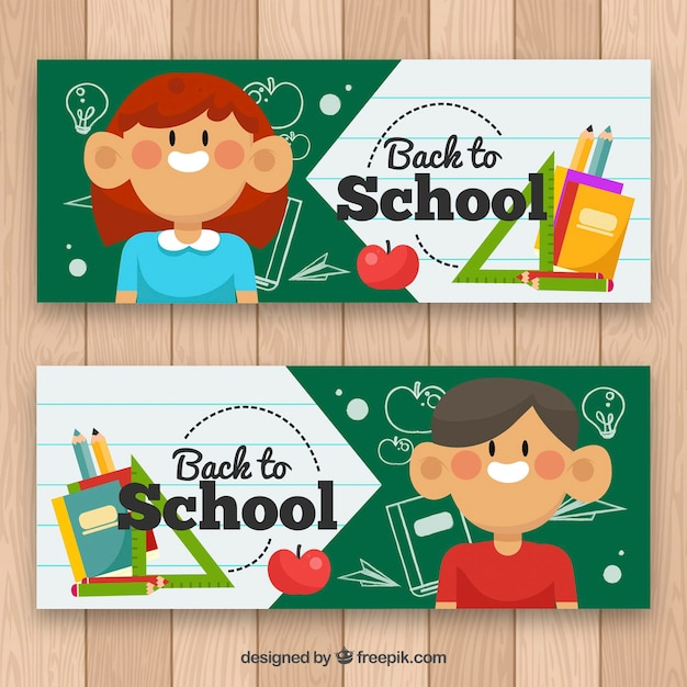Flat back to school banners with happy kids