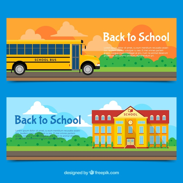 Flat back to school banners with school bus and building