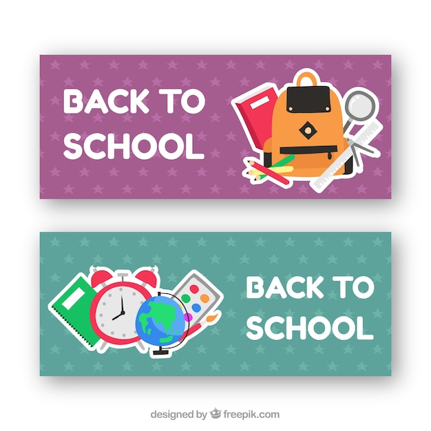 Flat back to school banners with star design
