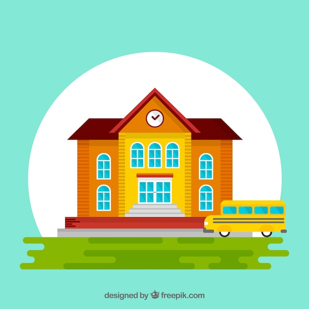 Flat back to school design with school bus and building